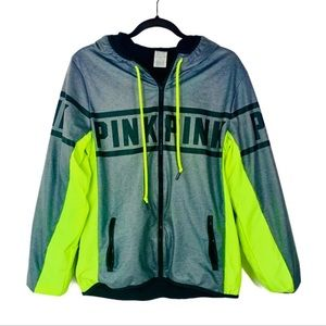 PiNK Victoria Secret neon green grey zipper hoodie